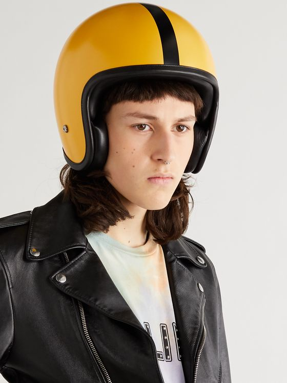 CELINE HOMME Leather-Trimmed Carbon Fibre Motorcycle Helmet