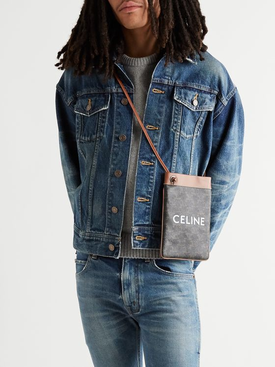 CELINE HOMME Leather-Trimmed Logo-Print Coated-Canvas Pouch