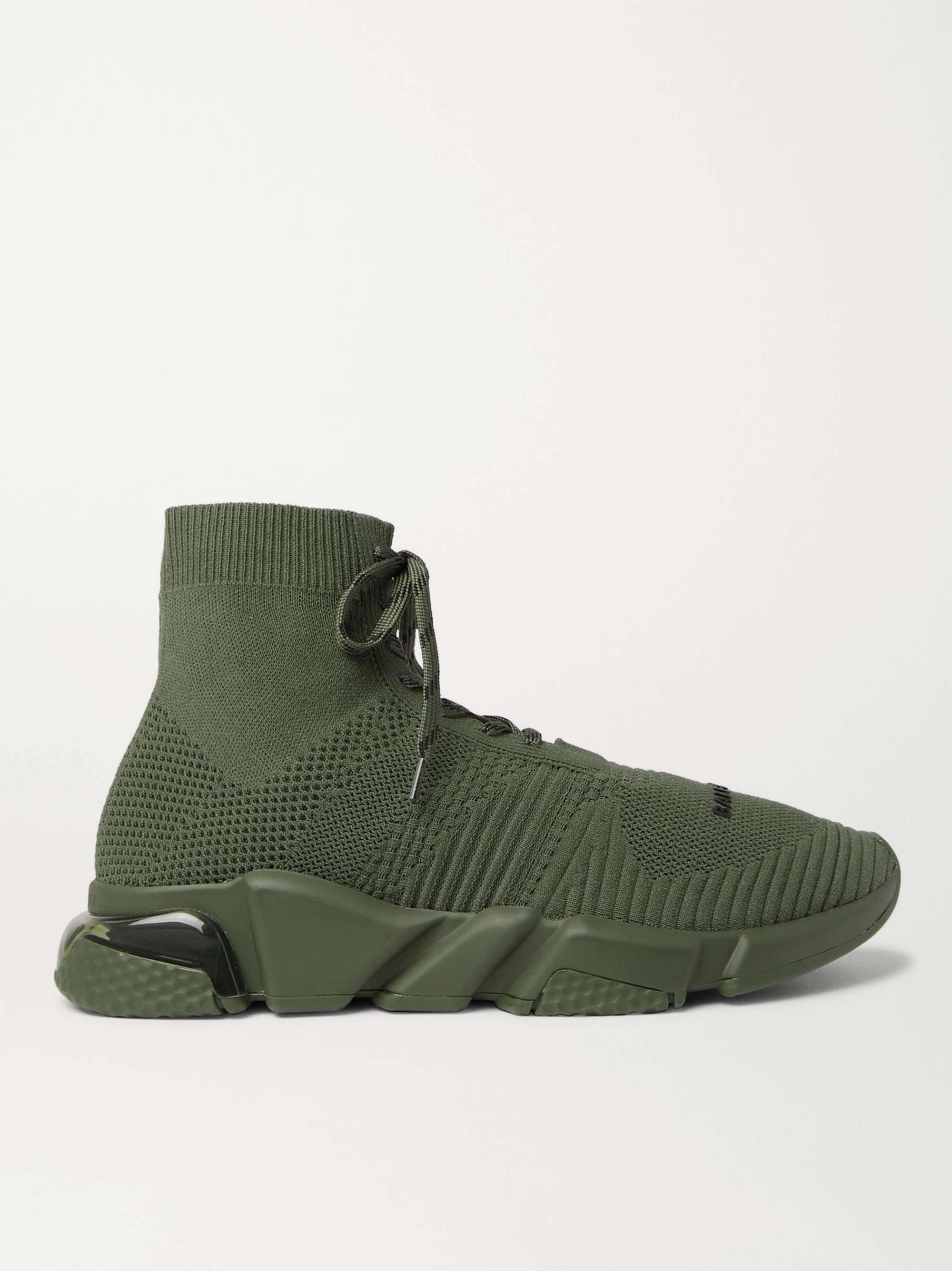 발렌시아가 스피드러너 남성용, 레이스업 - 그린 Balenciaga Speed Stretch-Knit Sneakers,Green