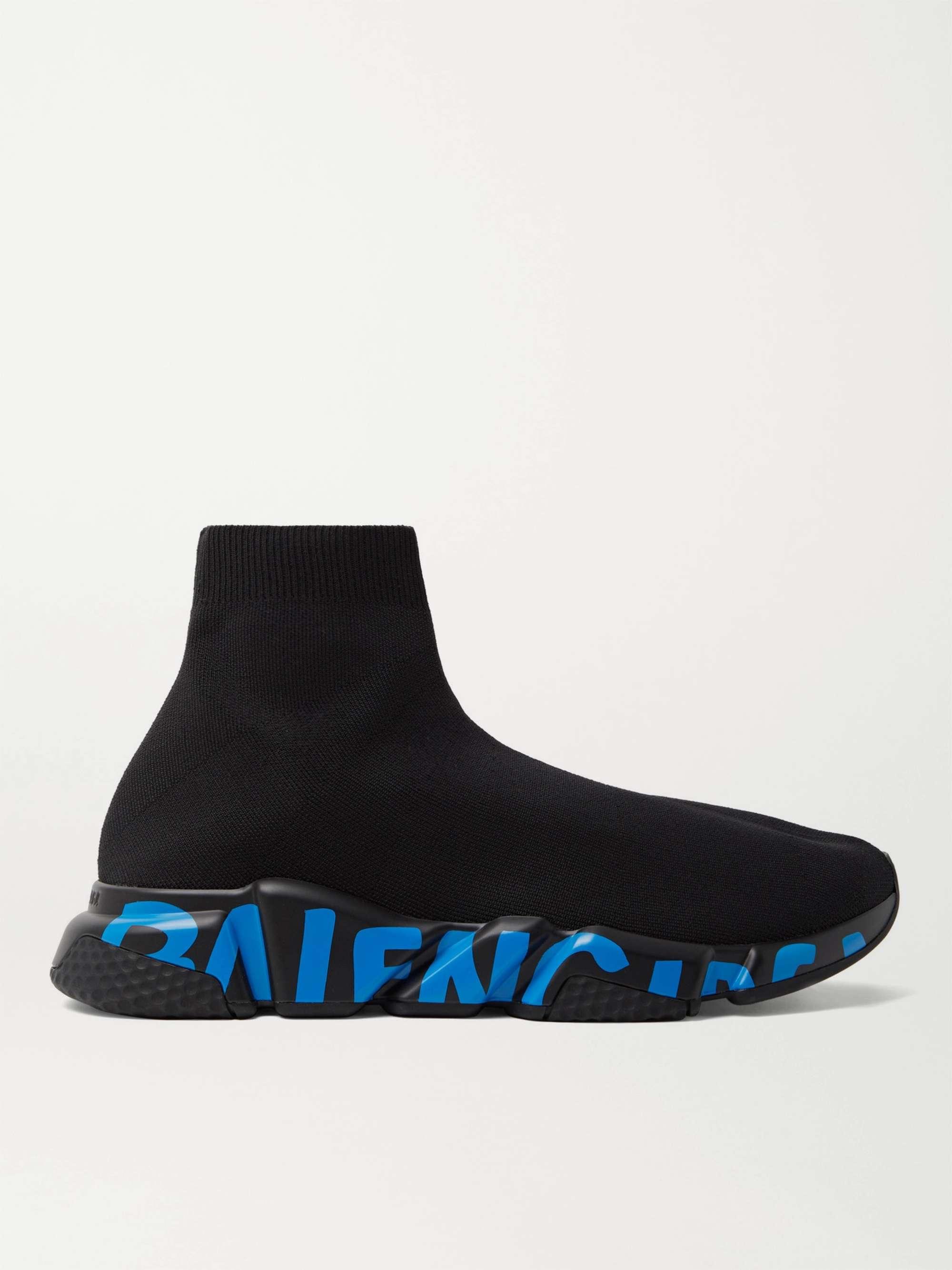 발렌시아가 스피드러너 남성용, 로고 프린트 - 블랙 Balenciaga Speed Sock Logo-Print Stretch-Knit Slip-On Sneakers,Black