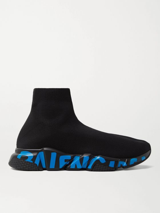 BALENCIAGA Speed Sock Logo-Print Stretch-Knit Slip-On Sneakers