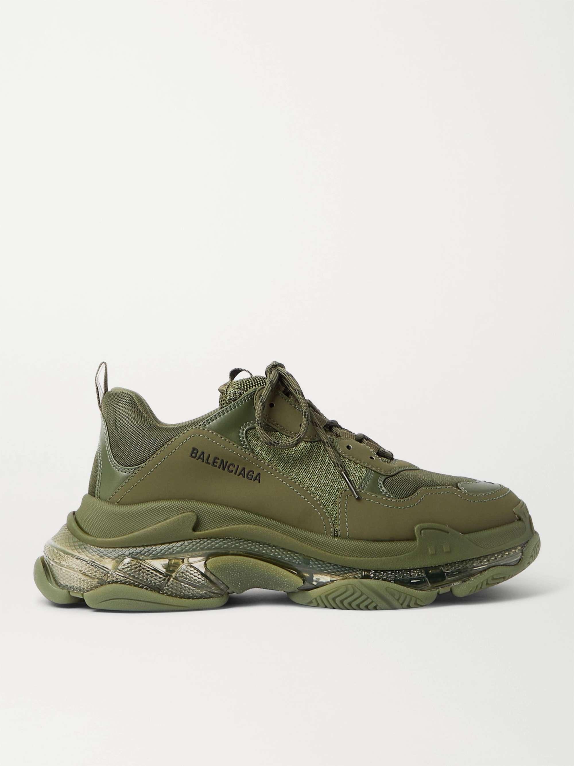 발렌시아가 트리플S 남성용 Balenciaga Triple S Clear Sole Mesh Nubuck and Leather Sneakers,Green