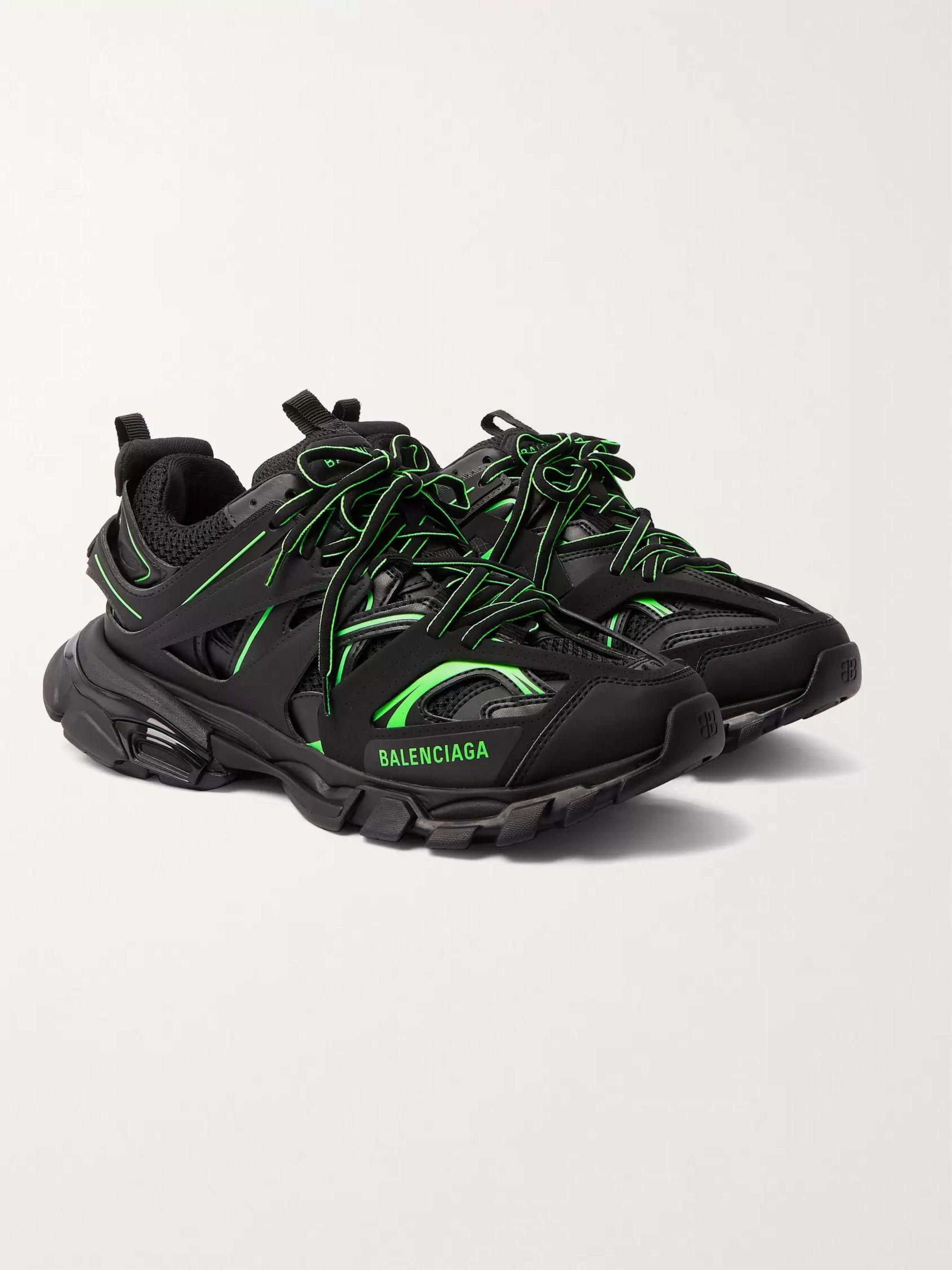발렌시아가 Balenciaga Track Neon Nylon Mesh and Rubber Sneakers,Black