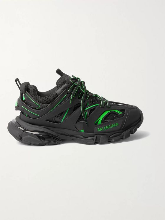 BALENCIAGA Track Neon Nylon, Mesh and Rubber Sneakers