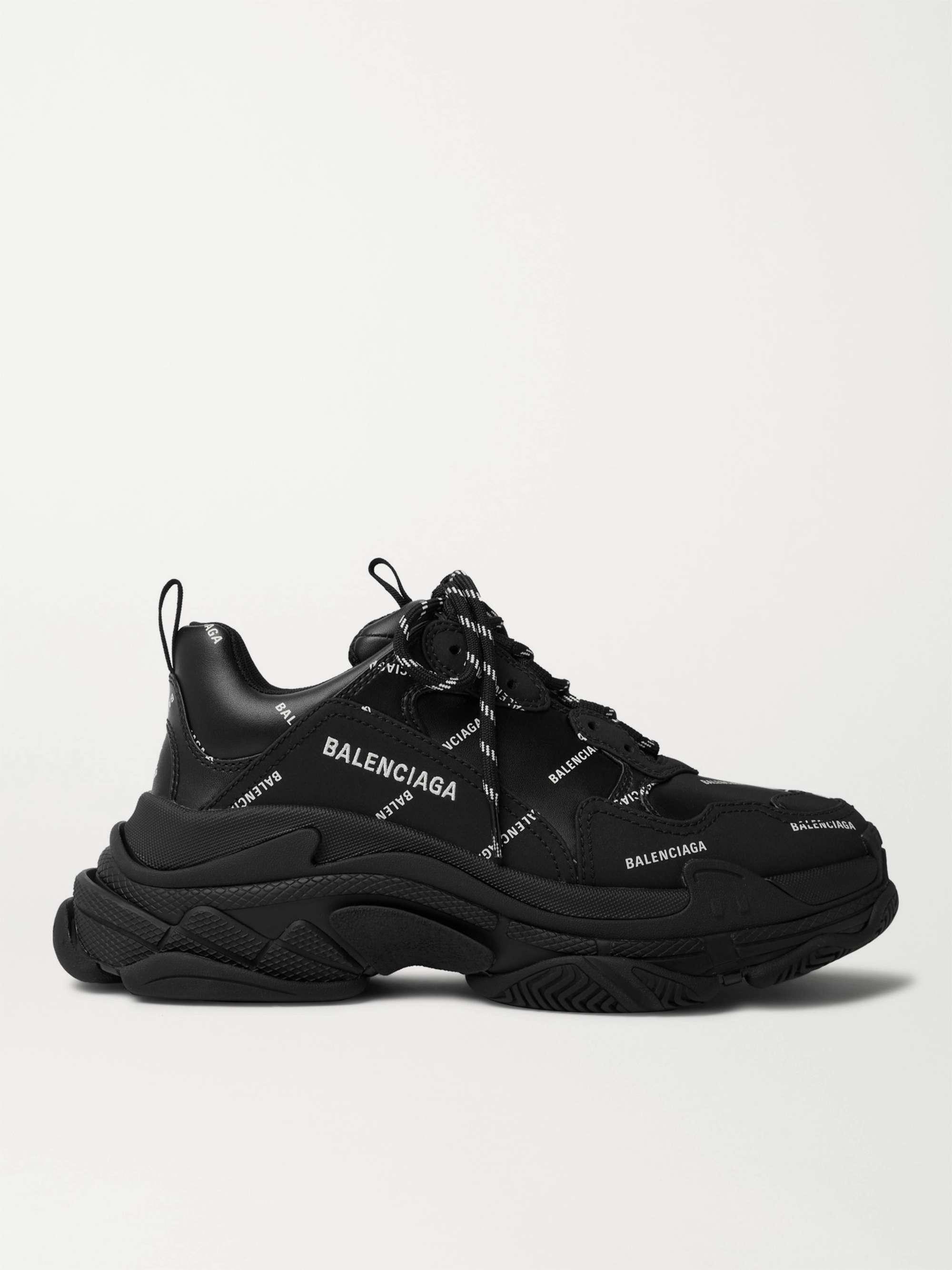 발렌시아가 트리플S 남성용 Balenciaga Triple S Logo-Print Faux Leather Sneakers,Black