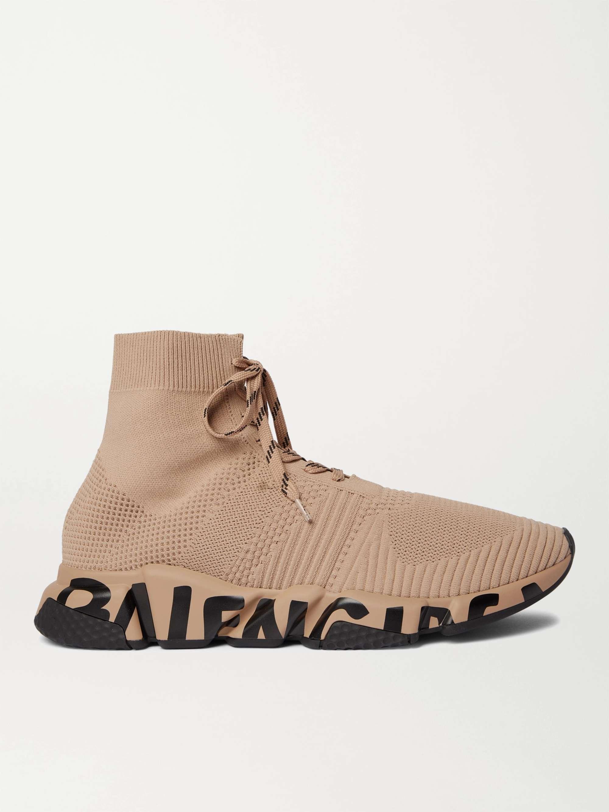 발렌시아가 스피드러너 남성용, 레이스업 - 브라운 Balenciaga Speed Logo-Print Stretch-Knit Sneakers,Brown