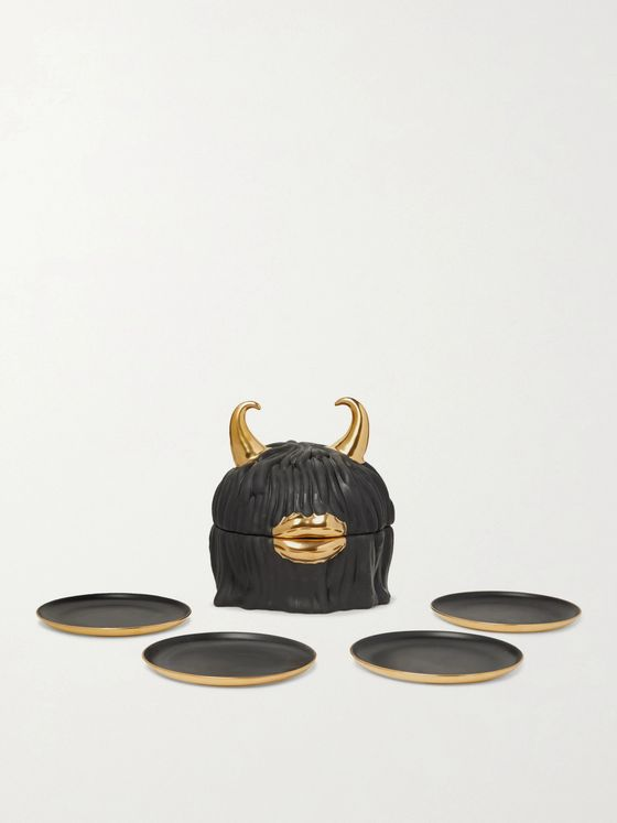 L'OBJET + Haas Lynda Porcelain and Gold-Plated Plate Set