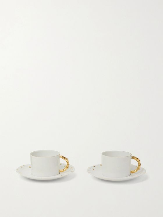 L'OBJET Haas Mojave Set of Two Gold-Plated Porcelain Tea Cups and Saucers