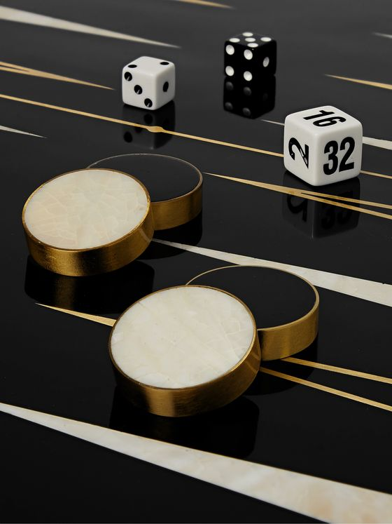 L'OBJET Resin, Wood and Stone Backgammon Set