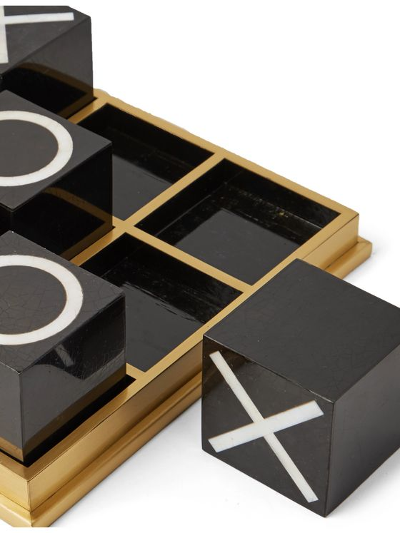 L'OBJET Deco Shell and Brass Tic-Tac-Toe Set