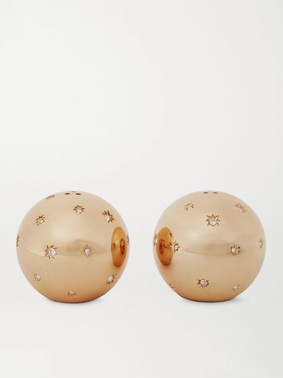 L'OBJET Stars Gold-Plated Swarovski Crystal Salt and Pepper Shakers