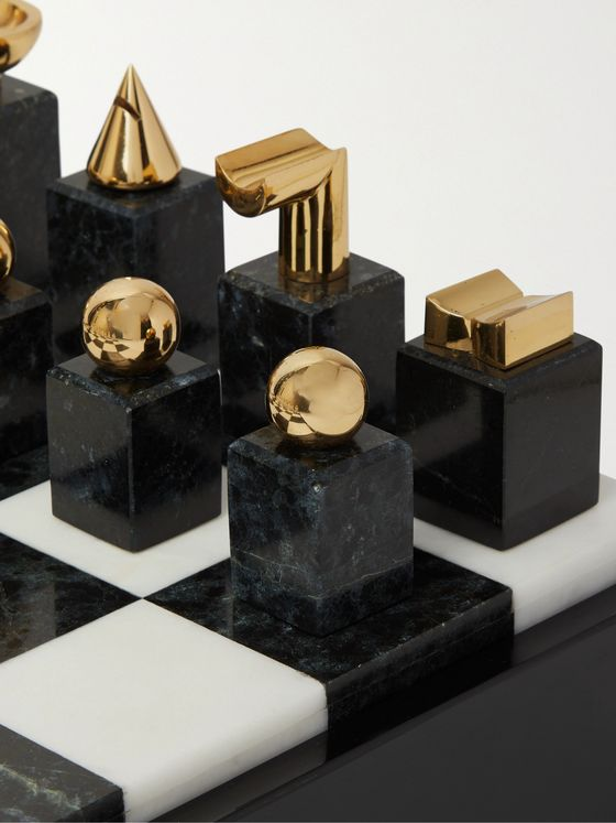 L'Objet Gold-Plated and Stone Chess Set
