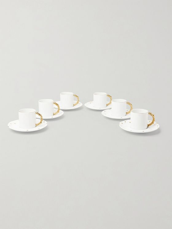 L'OBJET Haas Mojave Set of Six Gold-Plated Porcelain Espresso Cups and Saucers