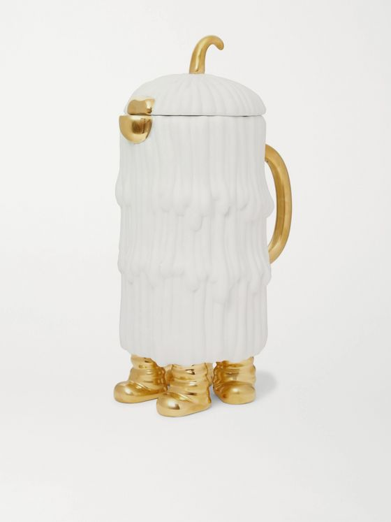 L'OBJET + Haas Djuna Porcelain and Gold-Plated Carafe