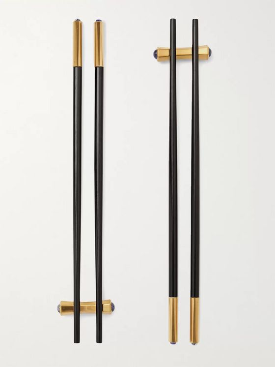 L'Objet Zen Set of Two Gold-Plated Wood Chopsticks and Rests