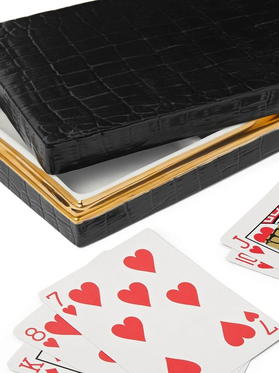 L'Objet Crocodile-Effect Gold-Plated Porcelain Box with Two Decks of Playing Cards