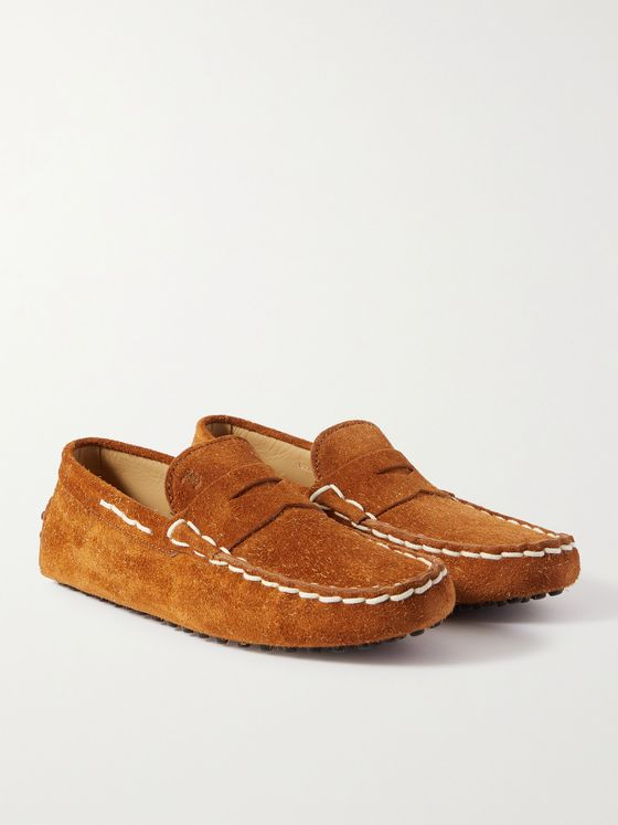 TOD'S Gommino Contrast-Stitched Suede Driving Shoes
