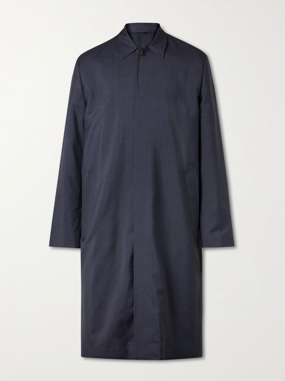 MR P. Pinstriped Virgin Wool, Merino Wool and Silk-Blend Car Coat