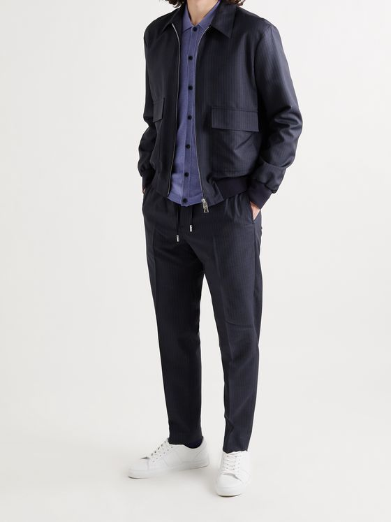 MR P. Tapered Pinstriped Virgin Wool-Blend Drawstring Trousers