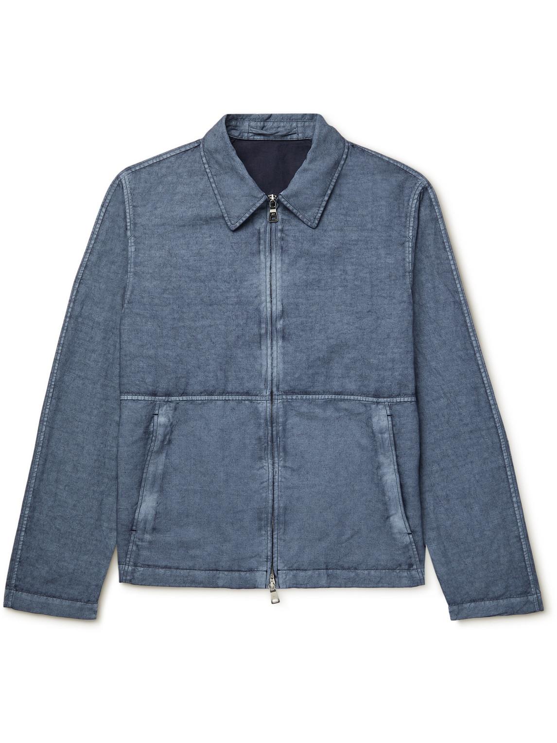 Mr P. - Resist-Dyed Cotton And Linen-Blend Blouson Jacket - Men - Blue - Xs