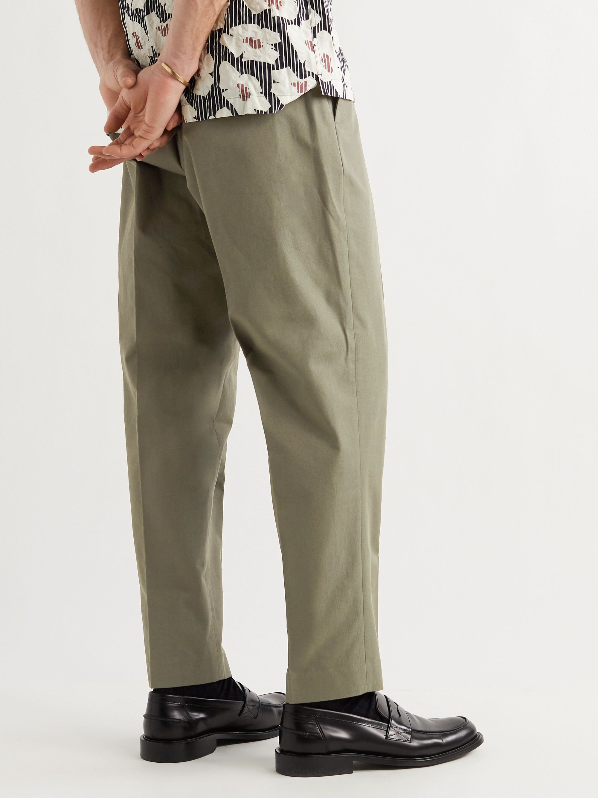 MR P. Daniel Tapered Pleated Cotton-Twill Trousers