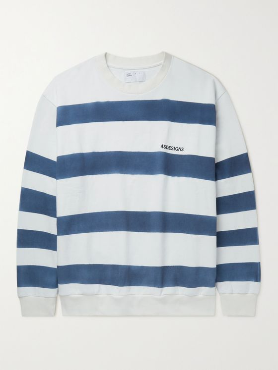 4SDESIGNS Tie-Dyed Striped Loopback Cotton-Jersey Sweatshirt