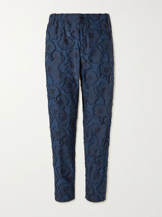 4SDESIGNS Tapered Fil Coupé Cotton-Jacquard Trousers