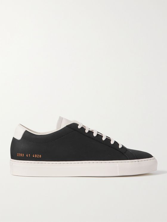 Common Projects Original Achilles Leather-Trimmed Nubuck Sneakers