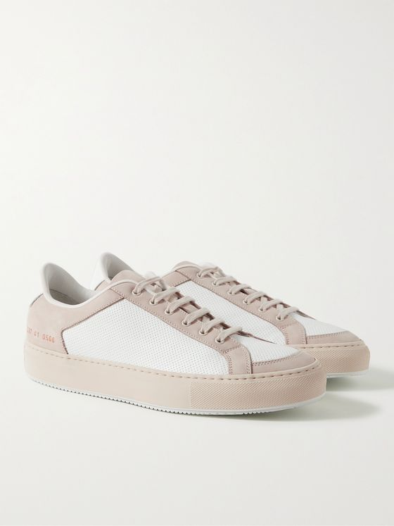 Common Projects Retro '70s Nubuck-Trimmed Perforated Leather Sneakers