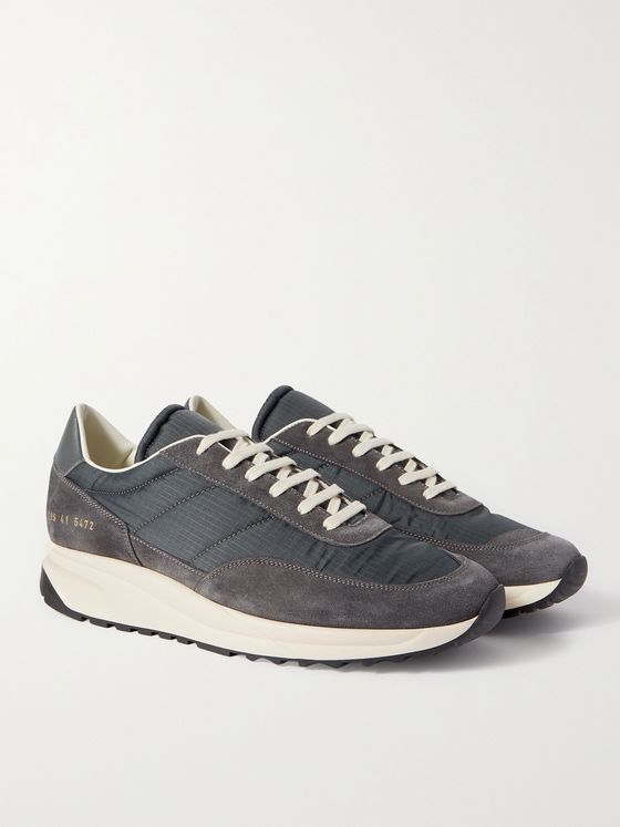 Common Projects Track Classic Leather-Trimmed Suede and Ripstop Sneakers