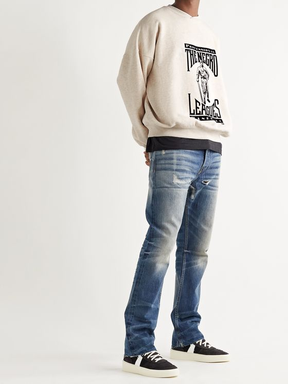 FEAR OF GOD Flocked Mélange Fleece-Back Cotton-Jersey Sweatshirt