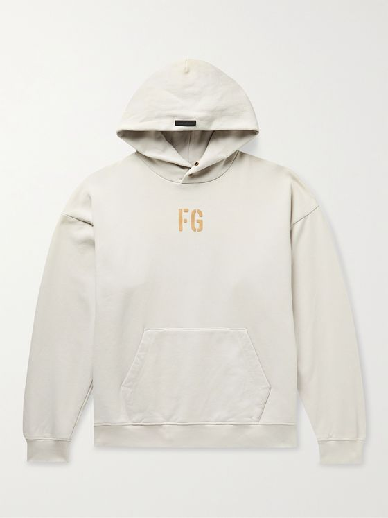 FEAR OF GOD Logo-Flocked Fleece-Back Cotton-Jersey Hoodie