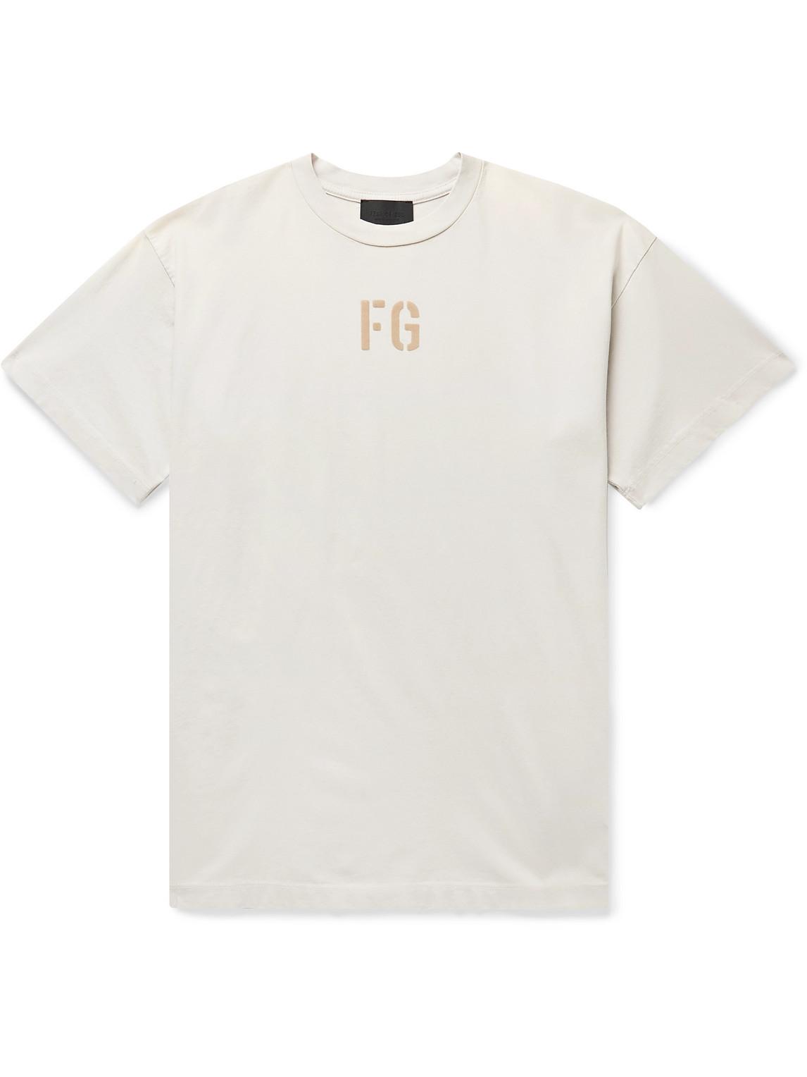 Fear Of God T-shirts LOGO-FLOCKED COTTON-JERSEY T-SHIRT