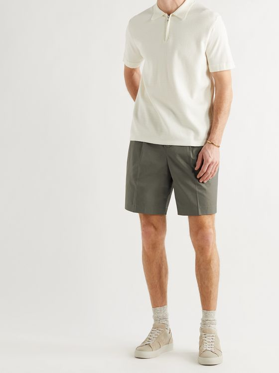 MR P. Wide-Leg Pleated Cotton-Twill Shorts