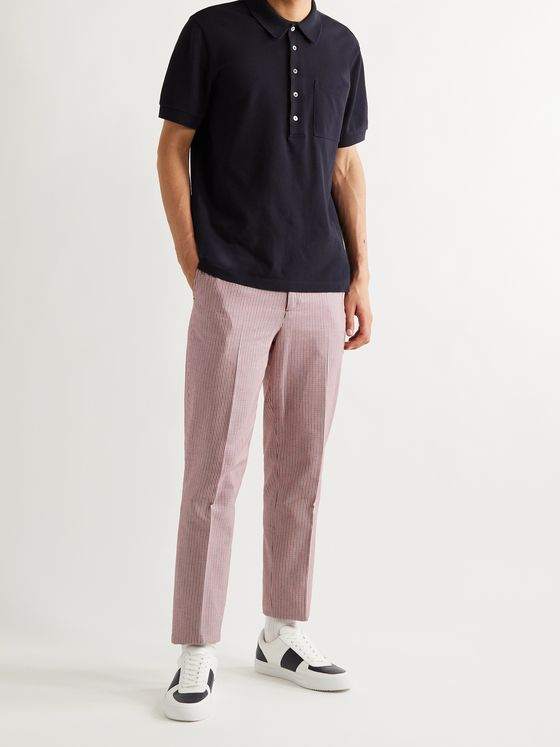 MR P. Tapered Puppytooth Stretch-Cotton Golf Trousers