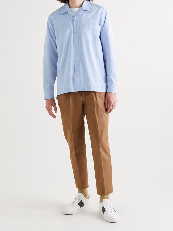 MR P. Camp-Collar Striped Cotton-Seersucker Shirt
