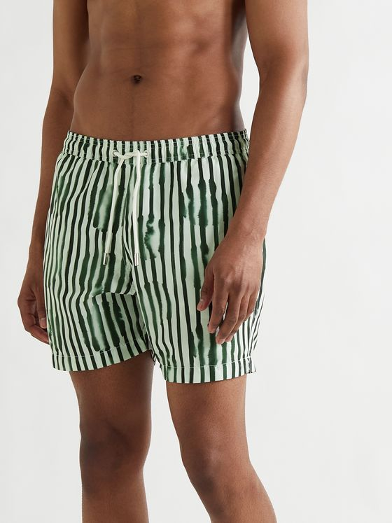 MR P. Mid-Length Striped Swim Shorts