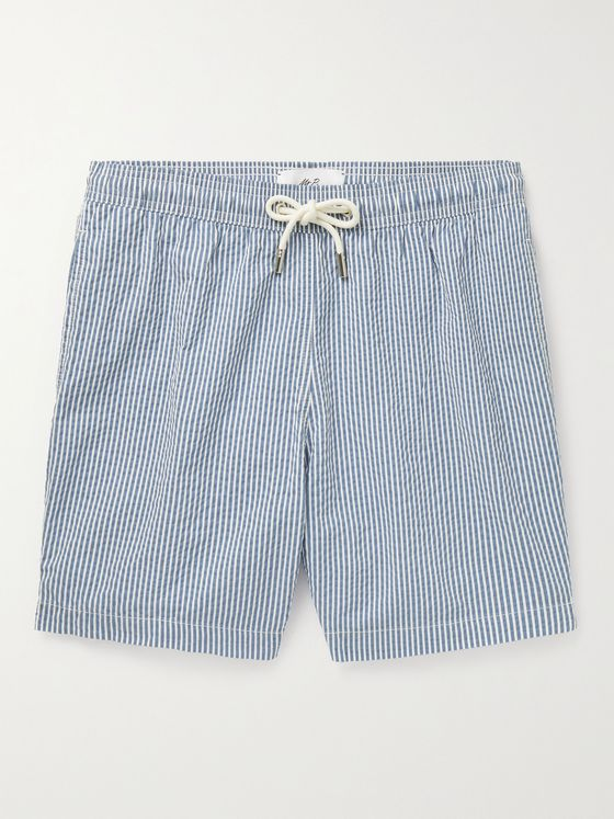 MR P. Striped Cotton-Blend Seersucker Swim Shorts