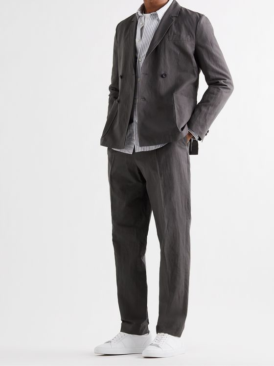 MR P. Unstructured Double-Breasted Linen and Cotton-Blend Suit Jacket