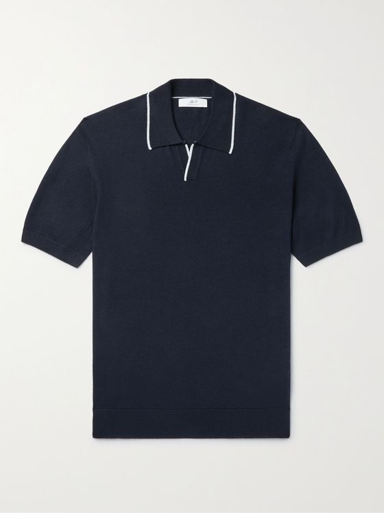 MR P. Slim-Fit Contrast-Tipped Knitted Cotton Polo Shirt