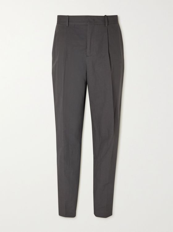 MR P. Pleated Linen and Cotton-Blend Trousers
