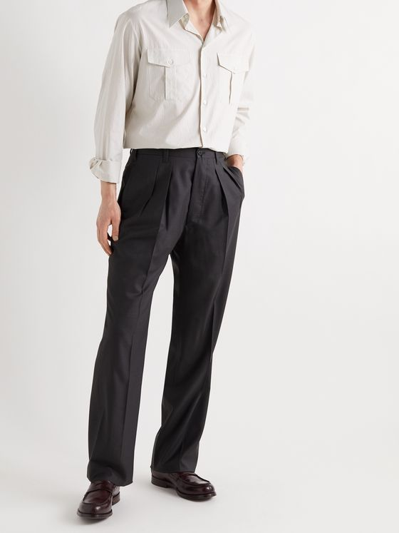 GIULIVA HERITAGE Umberto Tapered Pleated Wool Trousers