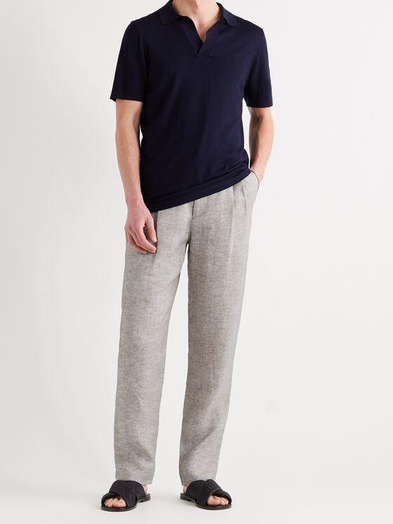 GIORGIO ARMANI Tapered Pleated Mélange Linen-Piqué Trousers