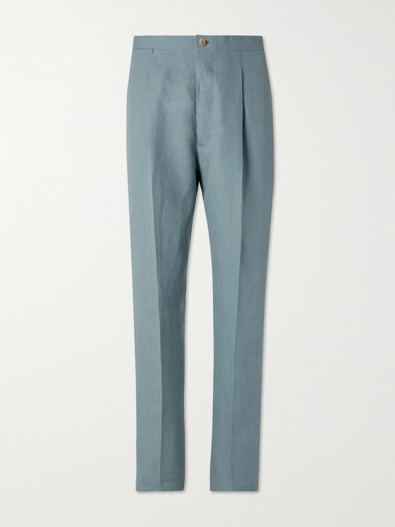 GIULIVA HERITAGE Vito Pleated Linen Suit Trousers