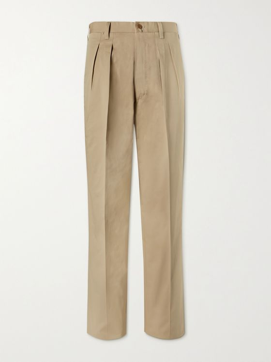 GIULIVA HERITAGE Umberto Tapered Pleated Cotton-Twill Suit Trousers