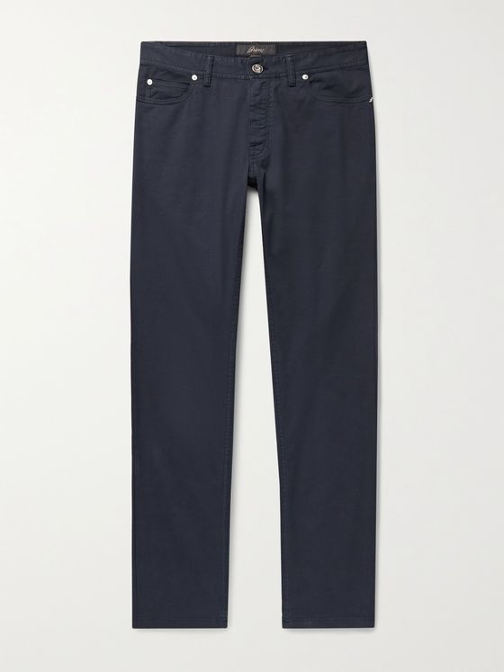 BRIONI Meribel Slim-Fit Garment-Dyed Stretch-Cotton Twill Trousers