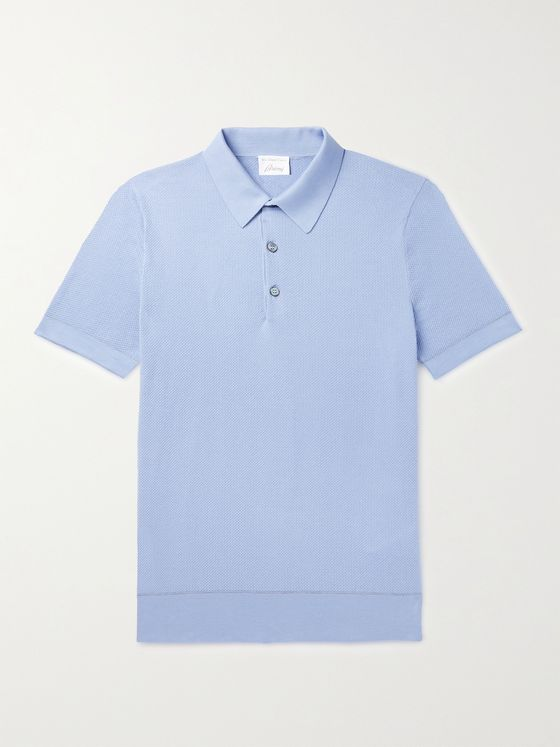 BRIONI Textured-Cotton Polo Shirt