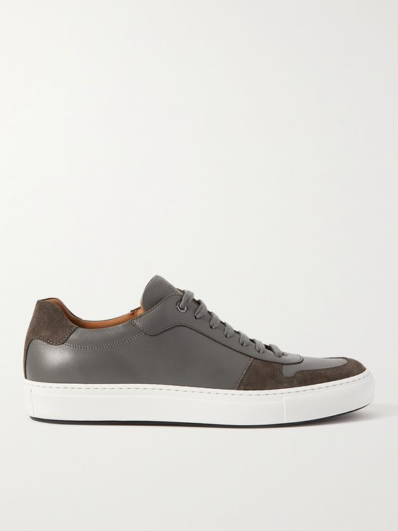 HUGO BOSS Mirage Suede-Trimmed Leather Sneakers