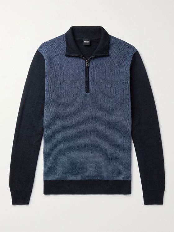 HUGO BOSS Panelled Cotton and Wool-Blend Half-Zip Sweater