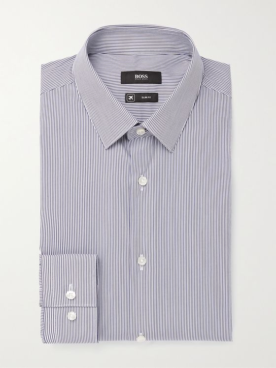 HUGO BOSS Slim-Fit Pinstriped Cotton-Blend Shirt